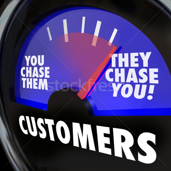 Stock photo: Customers They Chase You Gauge Measure Marketing Demand