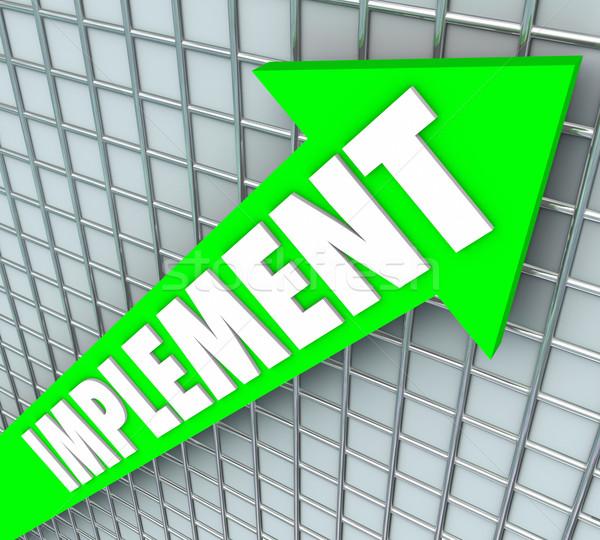Wort arrow Strategie Plan Verbesserung grünen Stock foto © iqoncept