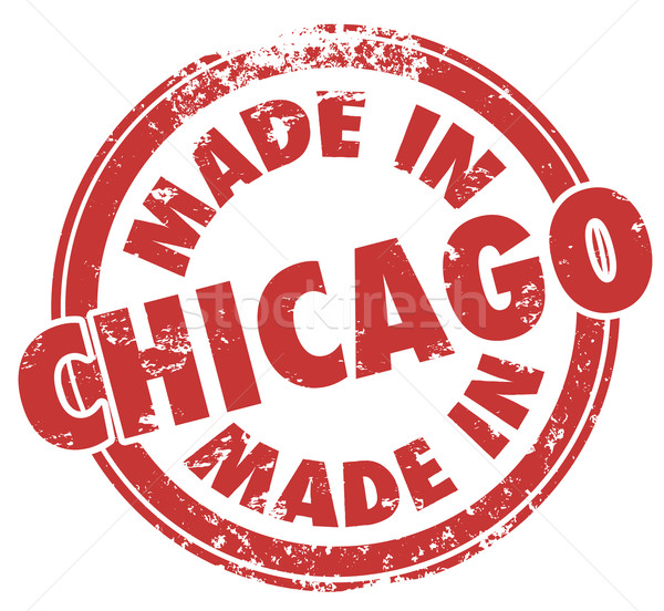 Made in Chicago City Words Round Red Stamp Pride Production Stock photo © iqoncept