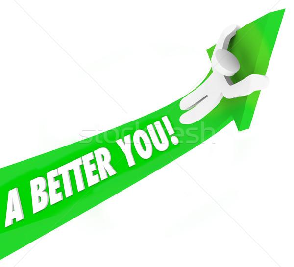 A Better You 3d Words Man Riding Green Arrow Self Improvement He Stock photo © iqoncept