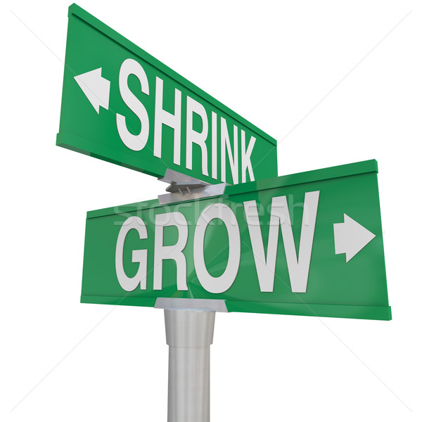 Grow Vs Shrink Words Two Way Signs Increase Vs Decrease Stock photo © iqoncept
