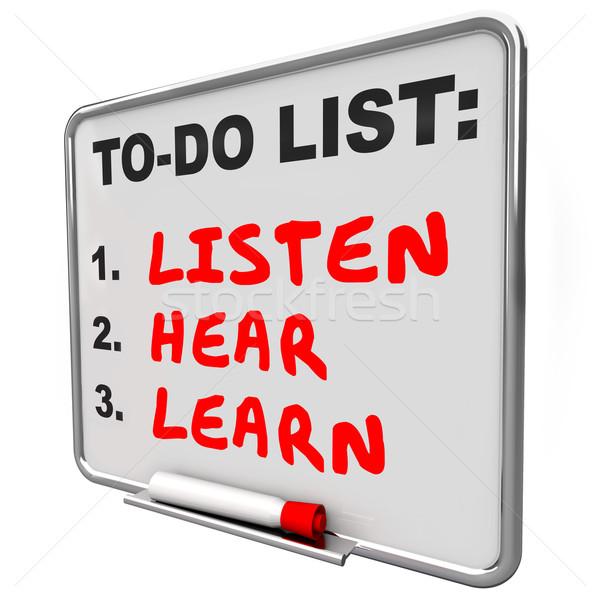 Hallgat hall tanul teendők listája tudás illetmény Stock fotó © iqoncept