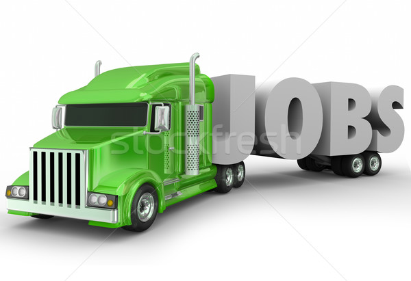 Jobs 3d Word Truck Cab Trailer New Career Stock photo © iqoncept