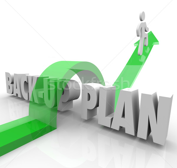 Back Up Plan Running Person Contingency Change Adapt Stock photo © iqoncept