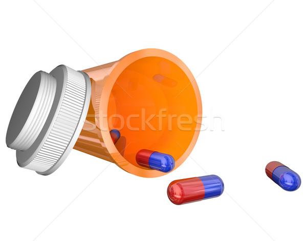 Narancs vényköteles gyógyszer üveg tabletták kapszulák nyitva Stock fotó © iqoncept