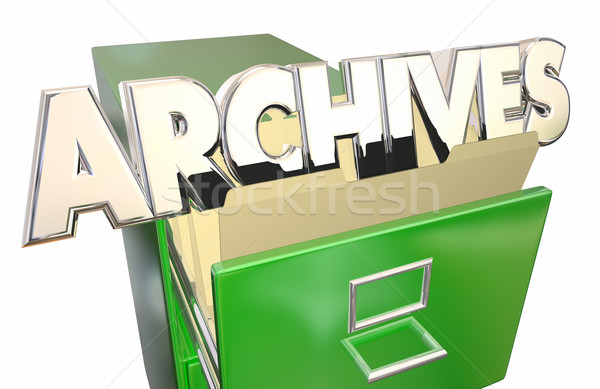Archives Old Records Data File Folders Cabinet History Stock photo © iqoncept