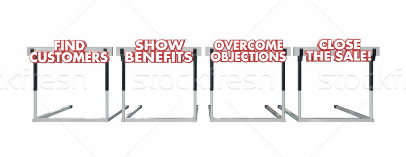 Find Customers Close the Sale Hurdles Selling Process 3d Words Stock photo © iqoncept