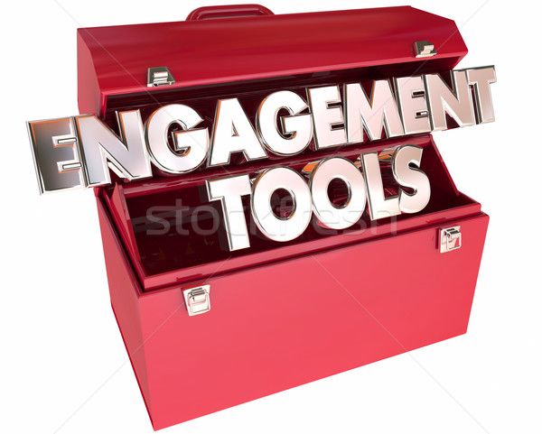 Engagement Tools Toolbox 3d Words Interaction Participation Comm Stock photo © iqoncept