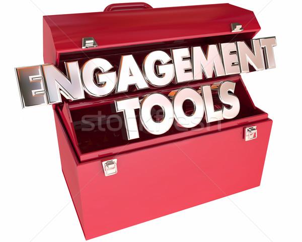 Compromisso ferramentas caixa de ferramentas 3D palavras interação Foto stock © iqoncept