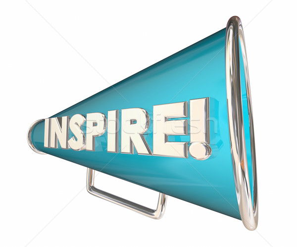 Inspire Bullhorn Megaphone Motivational Word 3d Illustration Stock photo © iqoncept