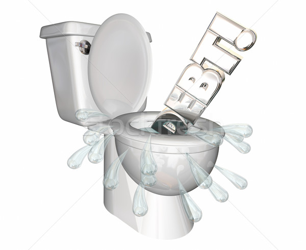 Debt Money Owed Bills Spending Flush Money Toilet 3d Illustratio Stock photo © iqoncept