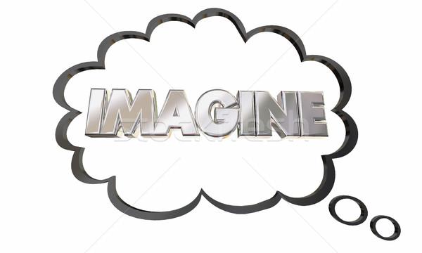 Imaginación pensamiento nube burbuja Foto stock © iqoncept