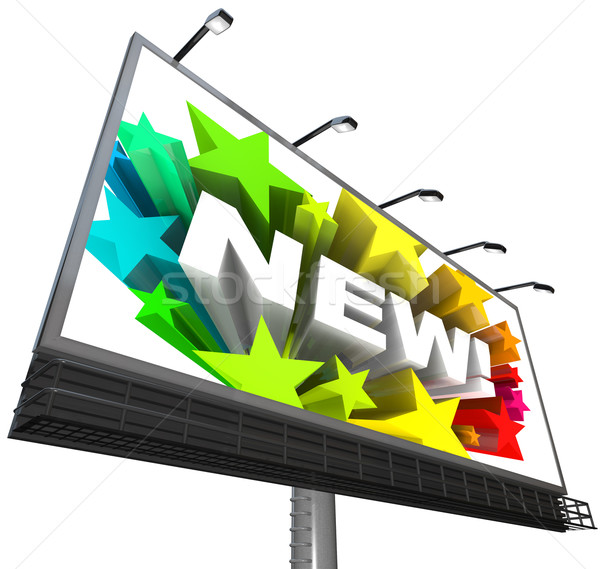 New Word and Fireworks on Billboard Announcement of Product Stock photo © iqoncept