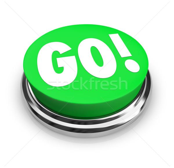 Go Round Green Button Begin Start Your Action Stock photo © iqoncept