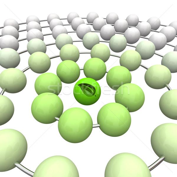 Zielony liść piłka kule jeden zielone liści Zdjęcia stock © iqoncept