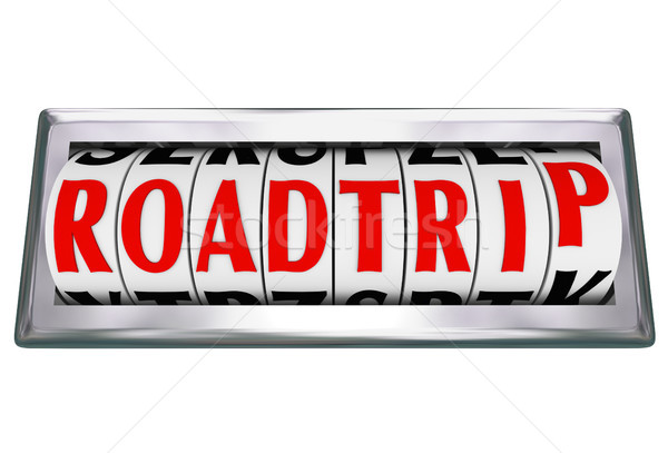 Roadtrip Word Odometer Counting Miles Road Trip Stock photo © iqoncept