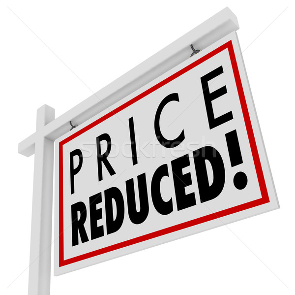 Prix maison vente signe baisser valeur Photo stock © iqoncept