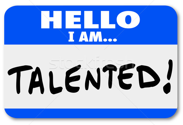 Stock photo: Hello I Am Talented Name Tag Job Fair Introduction Networking