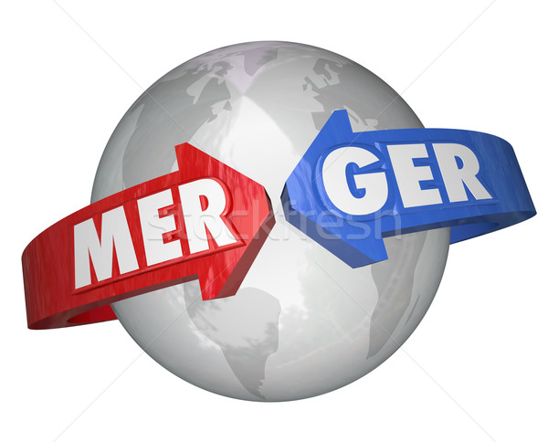 Merger Word Arrows Around World Combining Companies Business Stock photo © iqoncept