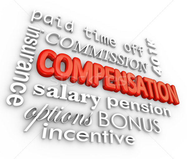Stock photo: Compensation Benefits Salary Total Pay Package Words