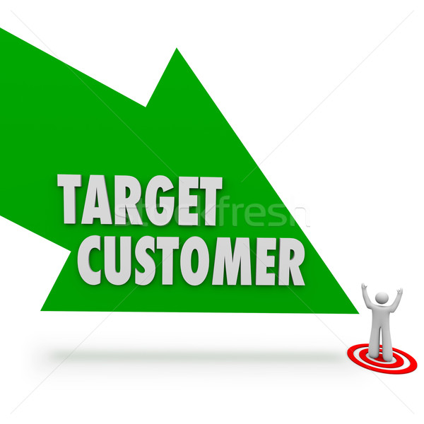 Target Customer Green Arrow Pointing Prospect Person Stock photo © iqoncept