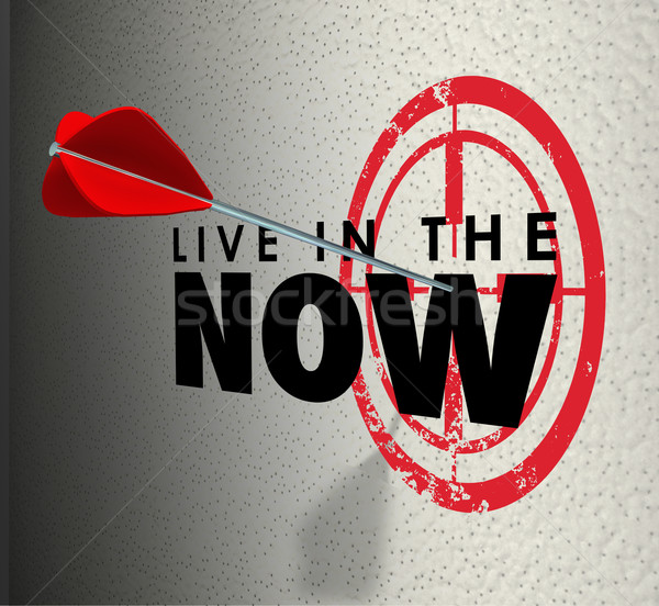 Live in the Now Arrow Hitting Target Aim Enjoy Present Moment Stock photo © iqoncept