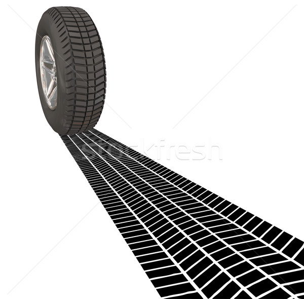 Wheel Tire Skid Mark Tracks Driving Transportation Car Automobil Stock photo © iqoncept