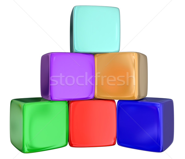 Cubes Boxes Blocks Stacked Pyramid 3d  Stock photo © iqoncept