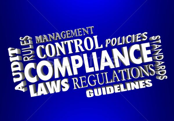 Conformité règles lois 3D mots collage Photo stock © iqoncept