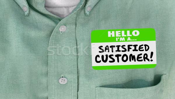 Elégedett vásárló boldog ügyfél névtábla póló Stock fotó © iqoncept