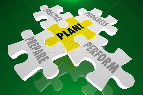 Plan Practice Prepare Perform Progress Puzzle 3d Illustration Wo Stock photo © iqoncept