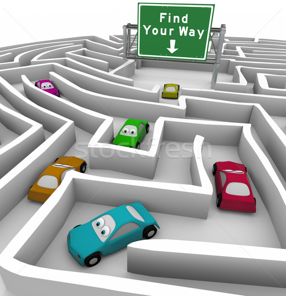 Find Your Way - Cars Lost in Maze Stock photo © iqoncept