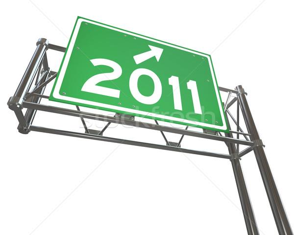 Nowy rok 2011 autostrady podpisania odizolowany zielone Zdjęcia stock © iqoncept