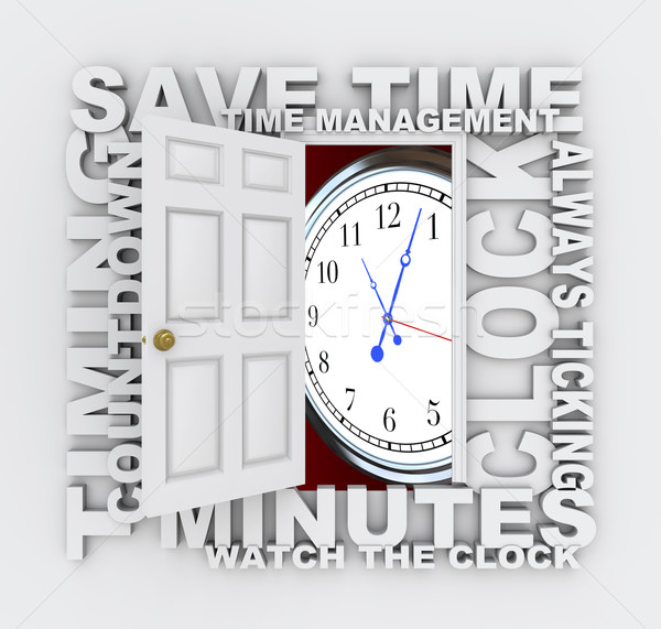 Open Door to Clock and Saving Time as Countdown Ticks Minutes Stock photo © iqoncept