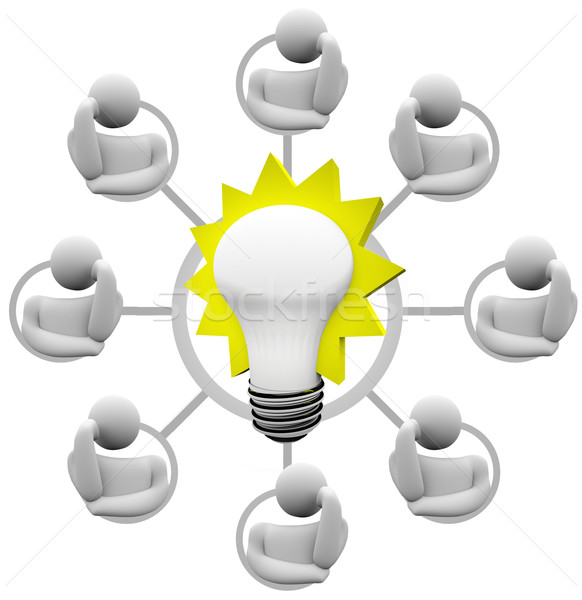 Brainstorming Solution to Problem Envision Light Bulb Idea Stock photo © iqoncept