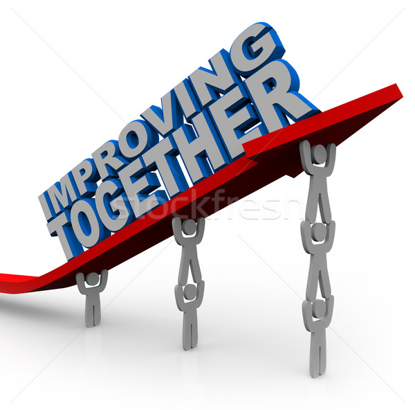Improving Together Team Lifts Arrow for Growth Success Stock photo © iqoncept