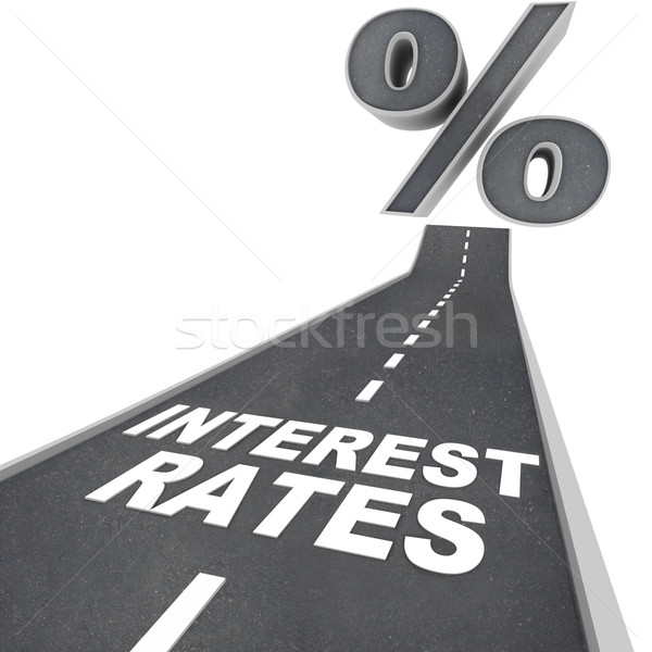 Road to Higher Interest Rates - Words on Street Stock photo © iqoncept