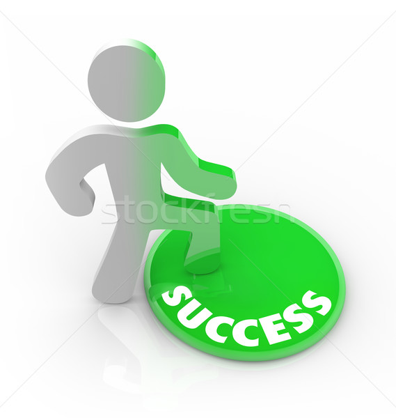 Success Changes a Person - Man Steps on Button Stock photo © iqoncept