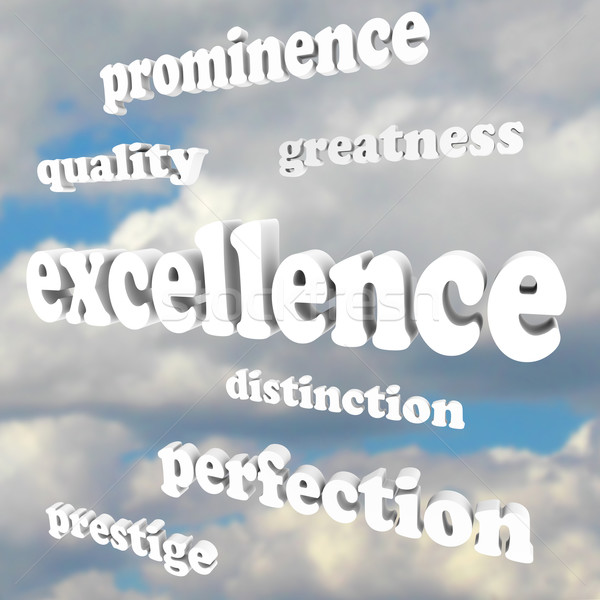Excellence Greatness Quality Words in Cloudy Blue Sky Stock photo © iqoncept