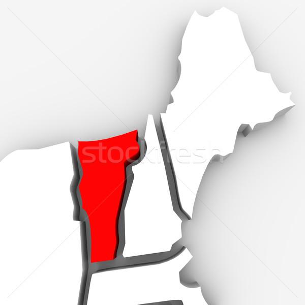 Vermont piros absztrakt 3D térkép Egyesült Államok Stock fotó © iqoncept