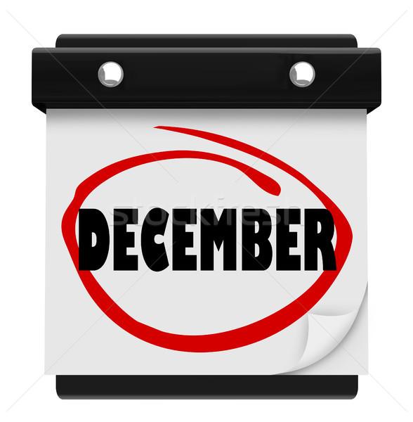 December woord muur kalender verandering maand Stockfoto © iqoncept