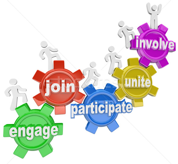 Participate People Climbing Gears Join Engage Involve  Stock photo © iqoncept