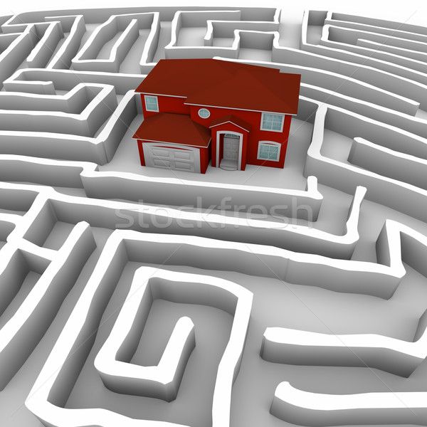 Red Home in Maze - Find Path to Ownership Stock photo © iqoncept