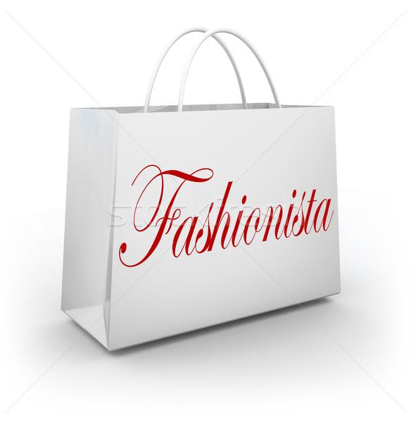 Fashionista alışveriş çantası satın alma elbise depolamak satış Stok fotoğraf © iqoncept