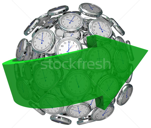 Time Moving Forward Clock Sphere Arrow Pointing Future Stock photo © iqoncept