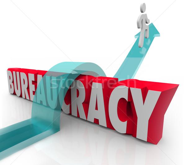 Bureaucratie personne équitation flèche obstacles mot Photo stock © iqoncept