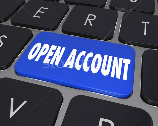 Open New Account Computer Keyboard Key Button Register Online Se Stock photo © iqoncept