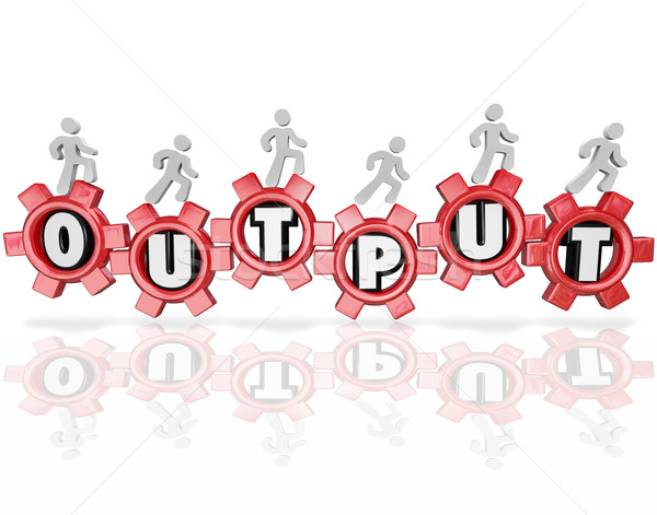 Output Word Gears People Working Productivity Results Stock photo © iqoncept