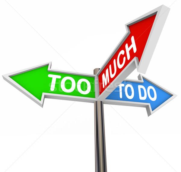 Drie pijl verkeersborden wijzend veel taken Stockfoto © iqoncept