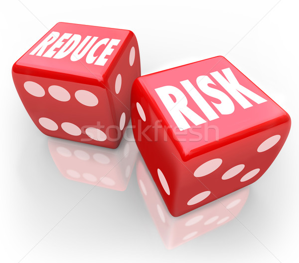 Reduce Risk Words Red Dice Lower Liability Chance Bet Gamble Stock photo © iqoncept